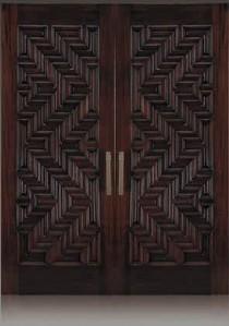 daun pintu rumah kayu minimalis ukir zigzag jepara terbaru