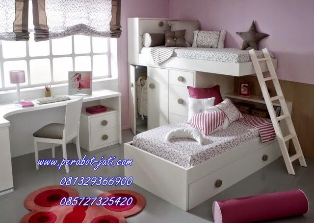 Furniture Set Kamar Tidur Tingkat Anak Perempuan Warna Duco Terbaru