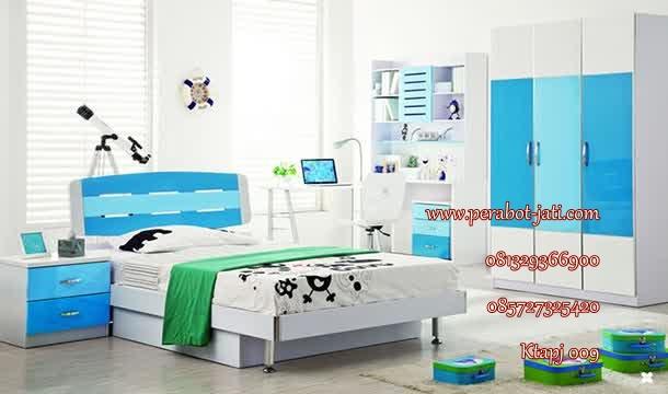 jual set tempat tidur anak perempuan minimalis  warna biru terbaru