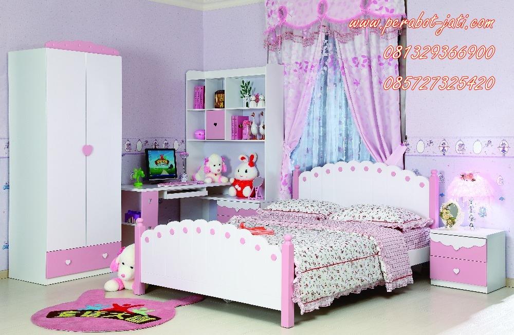 kamar tidur anak perempuan minimalis kayu model surabaya