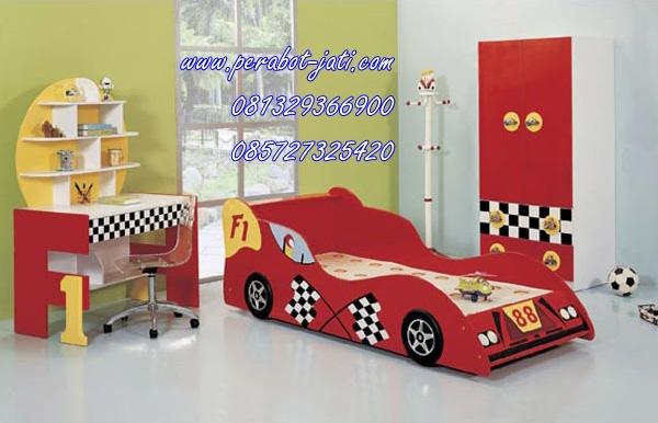 kamar tidur anak karakter mobil model terbaru perabot jati
