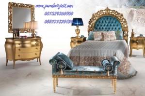 Kamar Tidur Ukir Desain Minimalis Gold Model Terbaru Jepara