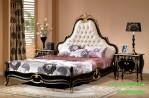 Jual Set Tempat Tidur Utama Klasik Black Gold Eropa Style