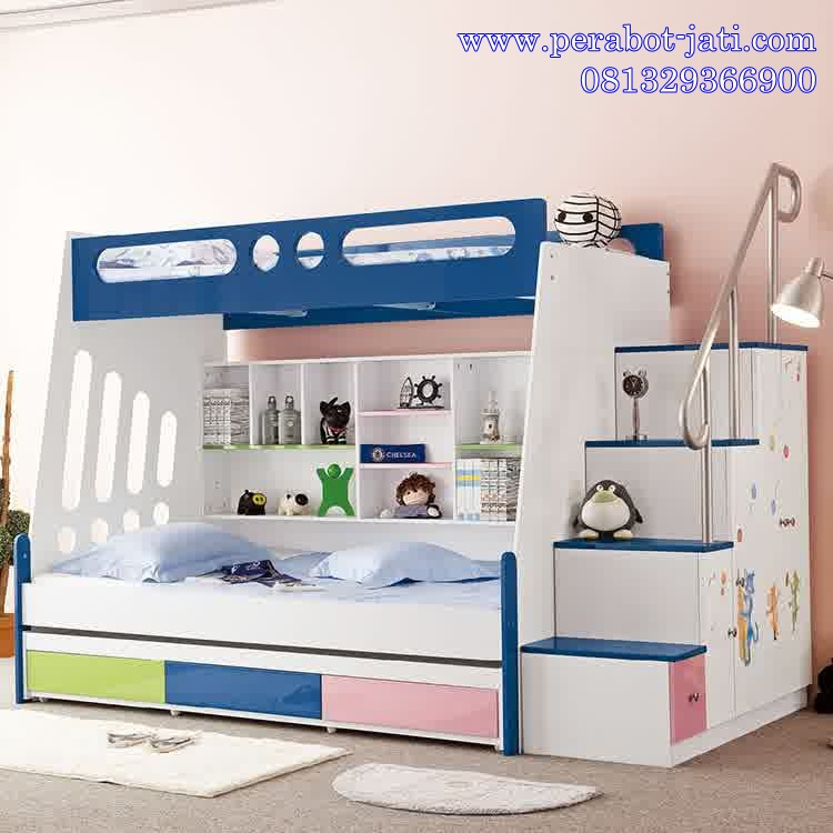 jual desain tempat tidur tingkat 3 laci untuk anak