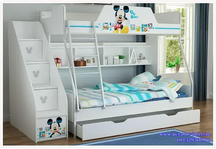 jual tempat tidur anak tingkat dan sorong karakter micky