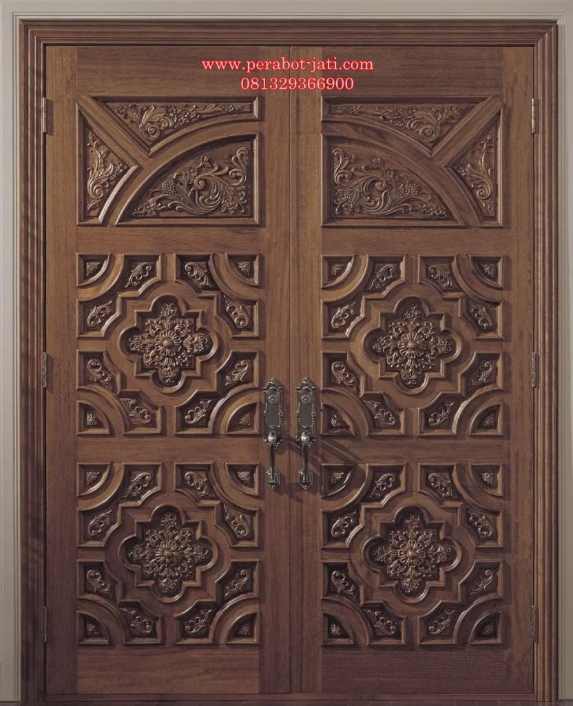Daun Pintu Rumah Ukir Relief Jati Jepara