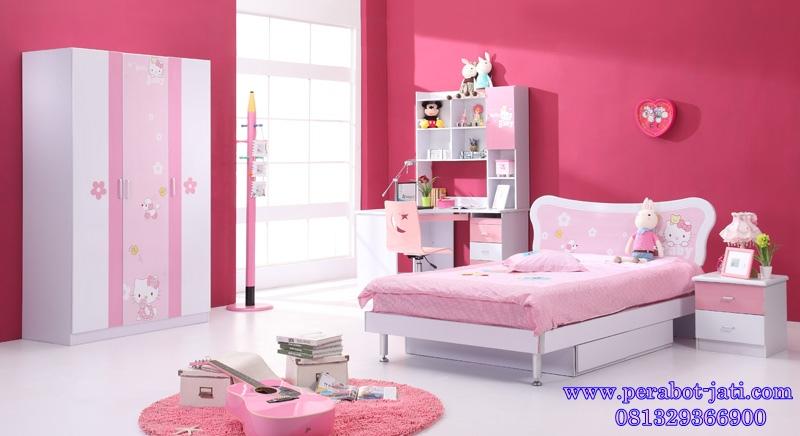 jual tempat tidur anak perempuan karakter hello kitty