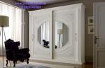 Lemari Pakaian Sliding Mewah Cat Putih Duco