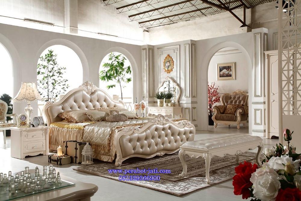 Ranjang Tidur Set Mewah Cat Putih Romantis