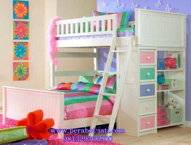 jual tempat tidur anak perempuan tingkat cat putih duco