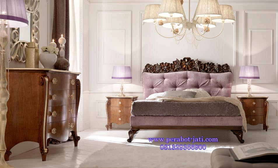 Tempat Tidur Elegan Ukir Mawar Model Eropa Luxury