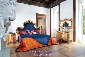 Tempat Tidur Ukir Klasik Modern Gold