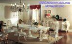 Meja Makan Minerva Ukir Klasik Putih