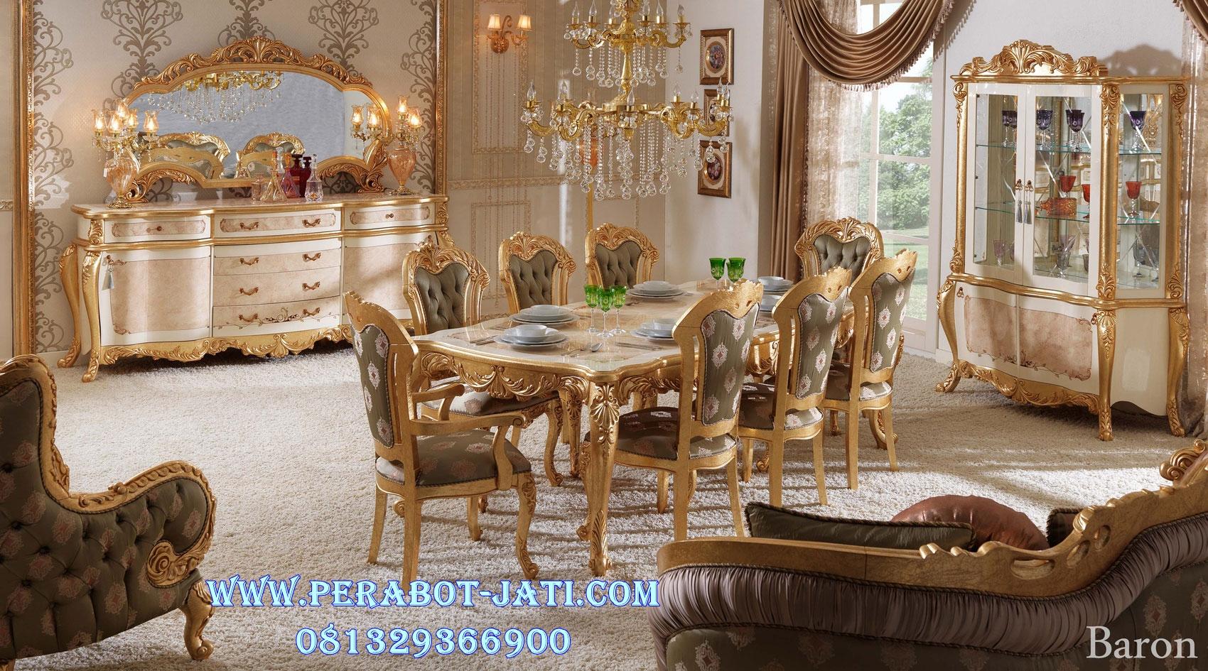 Meja Makan Gold Ukir Klasik Monalisa