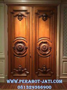 Pintu Utama Ukir Klasik Kayu jati Desain Eropa