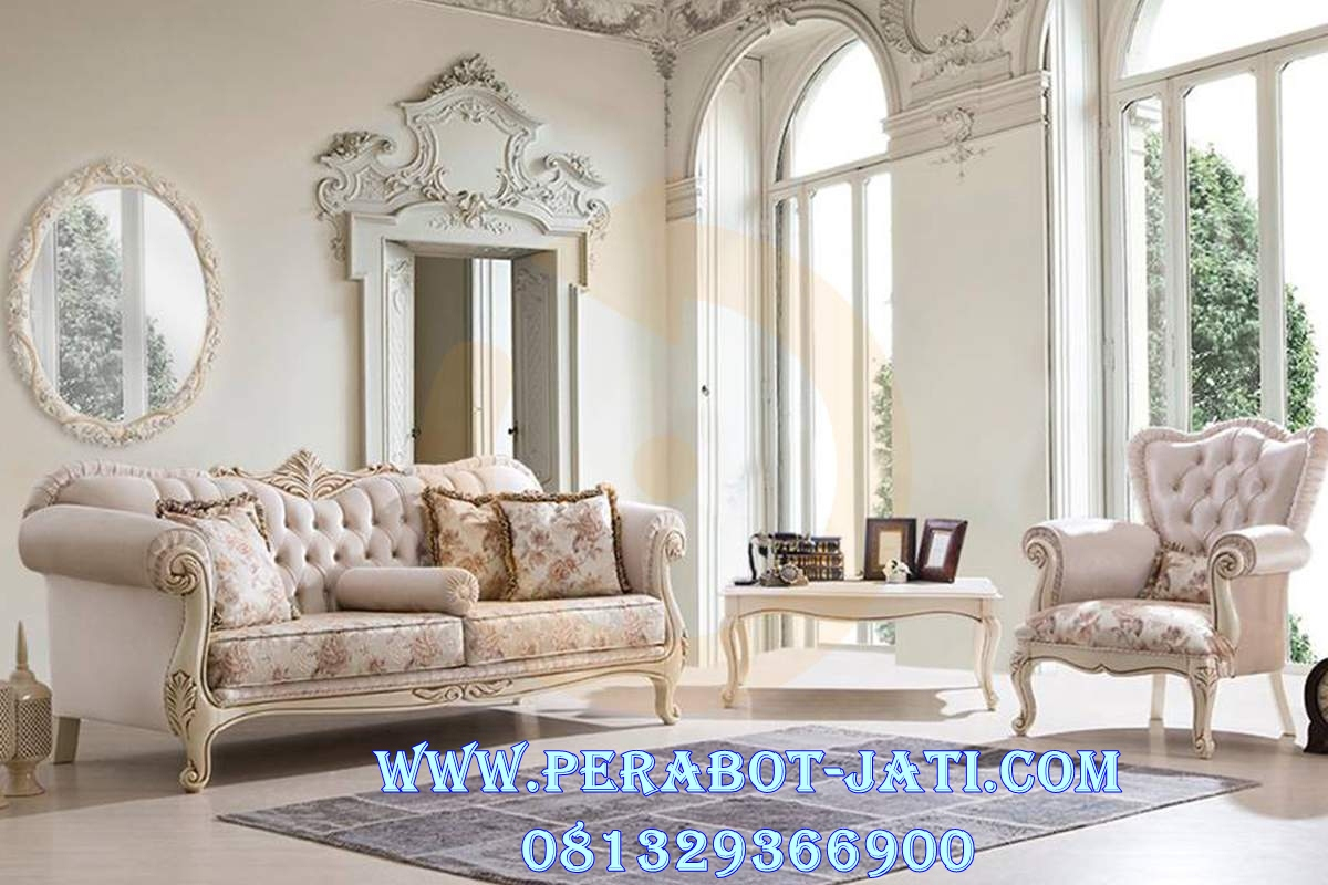 Set Kursi Sofa Ukir Cat Putih Duco Ciella
