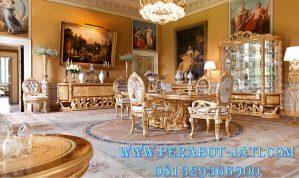 Set Meja Makan Eropa Klasik Gold