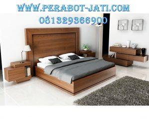 Desain Set Tempat Tidur Minimalis Mewah Kayu Jati