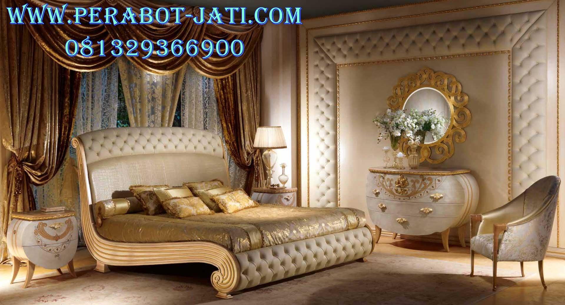 Furniture Tempat Tidur Klasik Mewah Lengkung Gold Gastone
