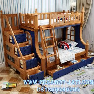 Harga Tempat Tidur Tingkat Natural Blue