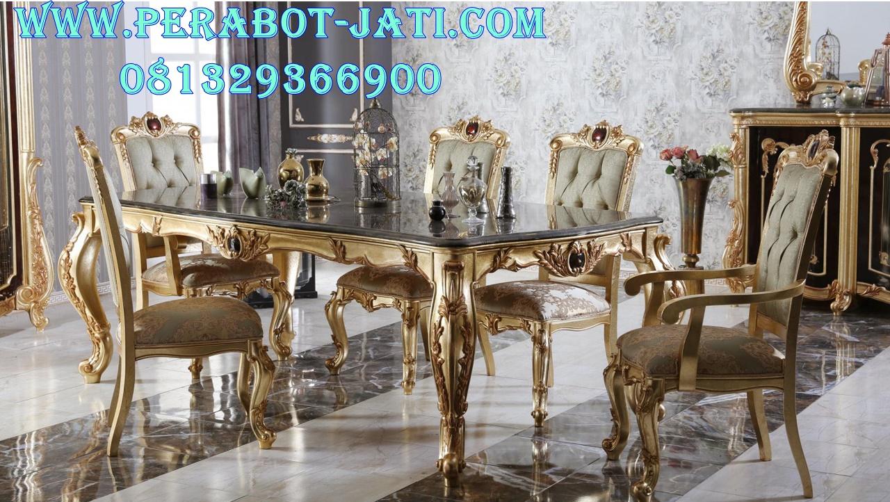 Set Meja Ruang Makan Klasik Warna Emas