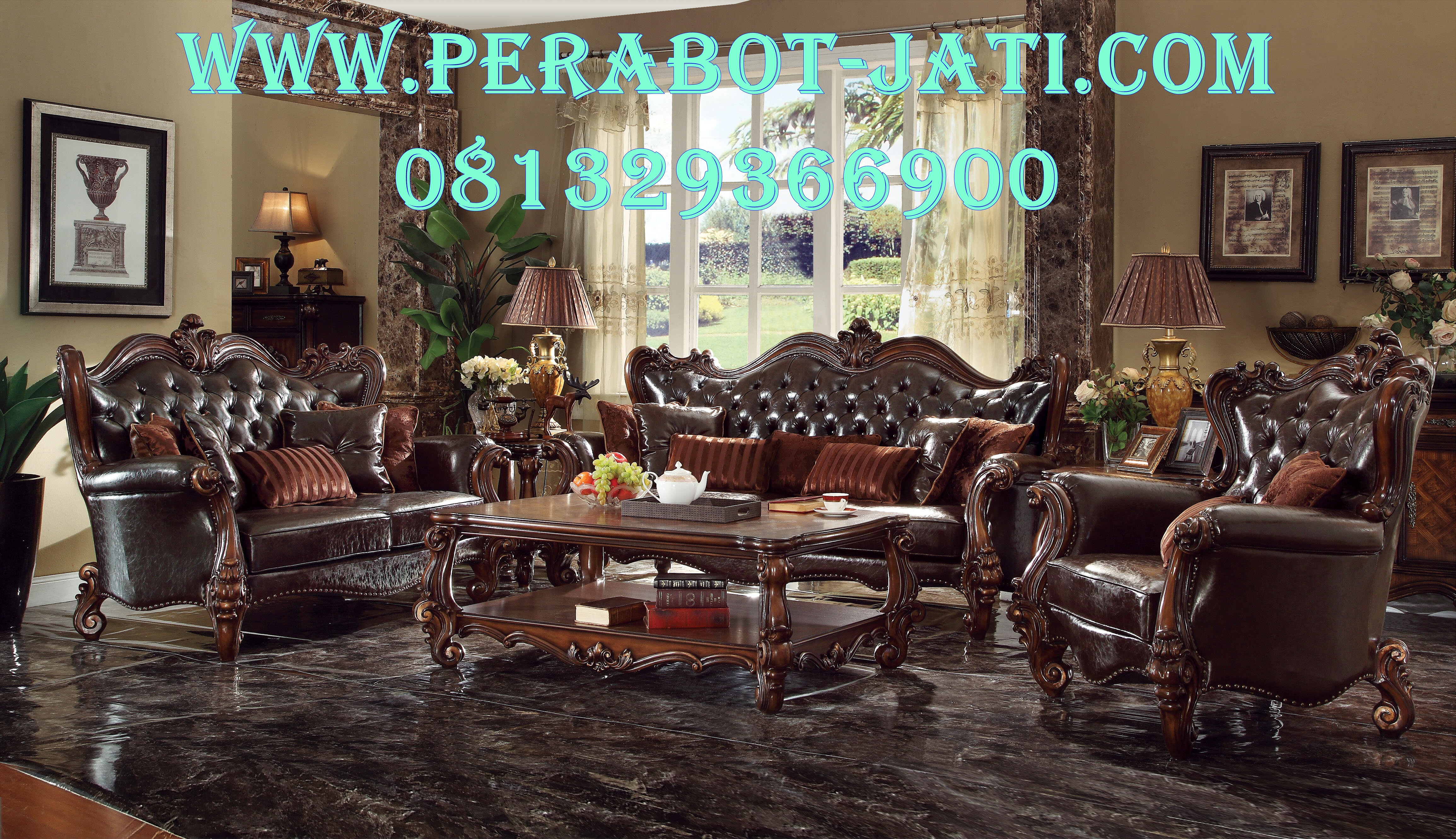 Desain Kursi Sofa Mewah Jati Ruang Tamu Istana Presiden