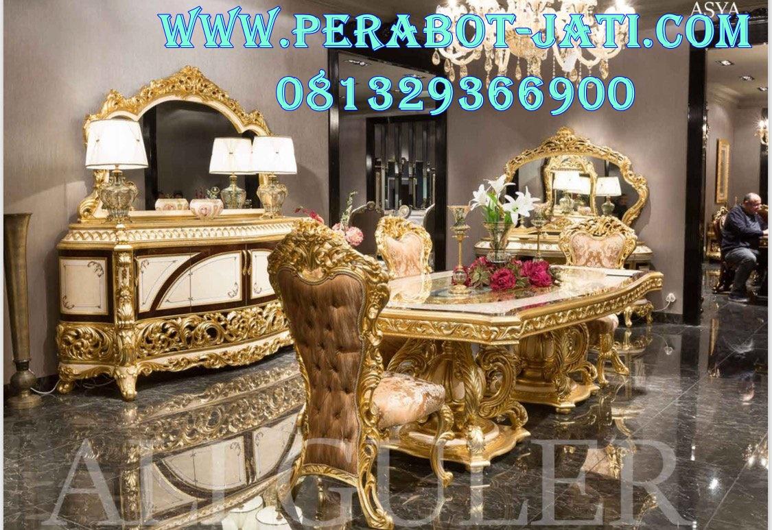 Meja Makan Klasik Elegan Gold Ukiran Jepara