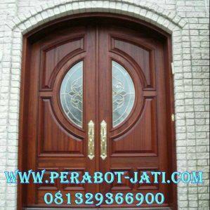 Model Daun Pintu Rumah Mewah Dengan Kaca Patri Bundar