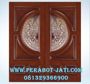 Kusen Pintu Kupu Tarung Mewah Kombinasi Kaca Patri