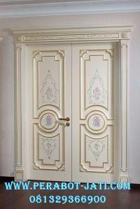 Jual Pintu Utama Putih Mewah kayu Mahoni Perhutani Rumah Minimalis