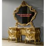 Meja Rias Mewah Jati Ukir Crown Gold