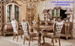Set Kursi Makan Mewah Jok Kulit French Style