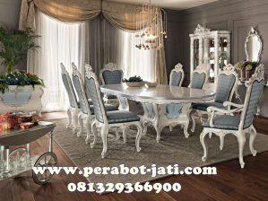 Set Kursi Makan Mewah Klasik Putih Ukir Minerva