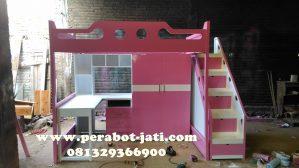 Ranjang Anak Tingkat Multifungsi Pink Minimalis Terbaru